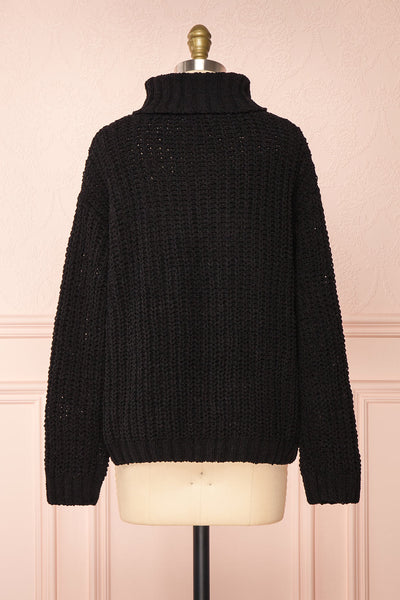 Irma Black Turtleneck Knit Sweater | La petite garçonne back view
