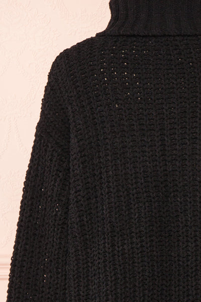 Irma Black Turtleneck Knit Sweater | La petite garçonne back close-up