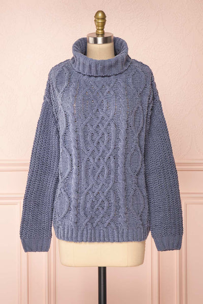 Irma Blue Turtleneck Knit Sweater | La petite garçonne front view
