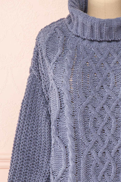 Irma Blue Turtleneck Knit Sweater | La petite garçonne front close-up