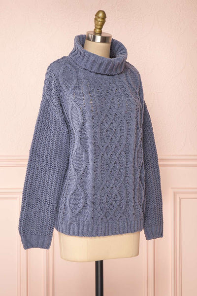 Irma Blue Turtleneck Knit Sweater | La petite garçonne side view