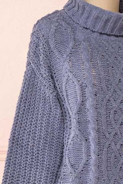 Irma Blue Turtleneck Knit Sweater | La petite garçonne side close-up