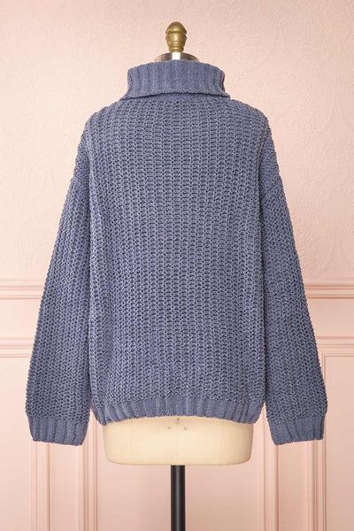 Irma Blue Turtleneck Knit Sweater | La petite garçonne back view