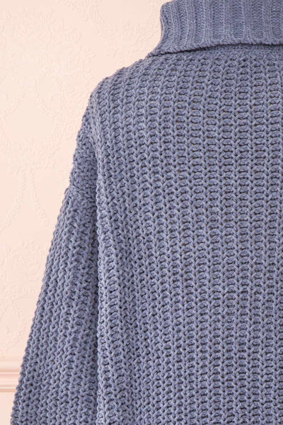 Irma Blue Turtleneck Knit Sweater | La petite garçonne back close-up