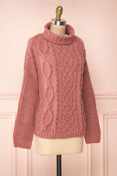 Irma Pink Turtleneck Knit Sweater | La petite garçonne side view