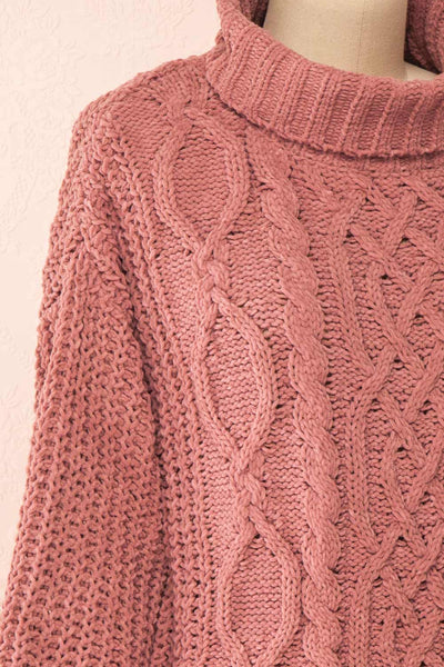 Irma Pink Turtleneck Knit Sweater | La petite garçonne side close-up