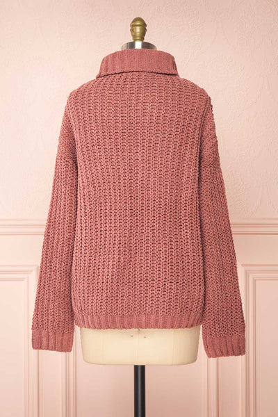 Irma Pink Turtleneck Knit Sweater | La petite garçonne back view