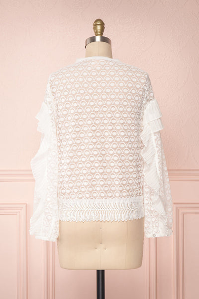 Istus Day White Lace Blouse with Pleated Ruffles | Boutique 1861 5