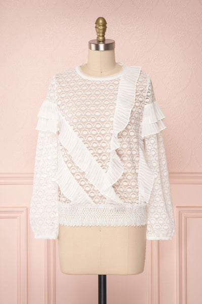 Istus Day White Lace Blouse with Pleated Ruffles | Boutique 1861