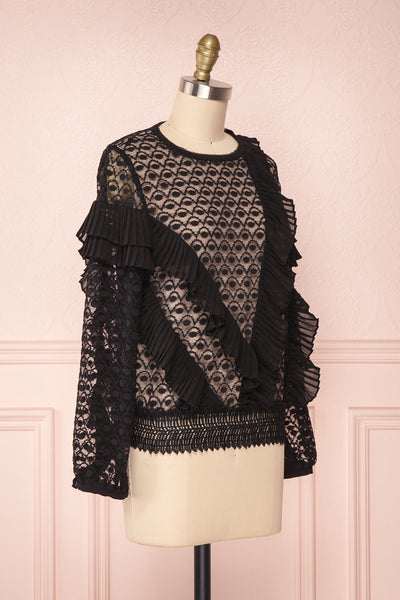 Istus Night Black Lace Blouse with Pleated Ruffles | Boutique 1861 3
