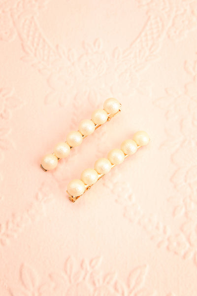 Iubeo Cream Beaded Hair Clips with Shimmer | Boutique 1861