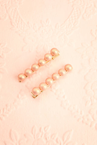 Iubeo Pink Beaded Hair Clips with Shimmer | Boutique 1861