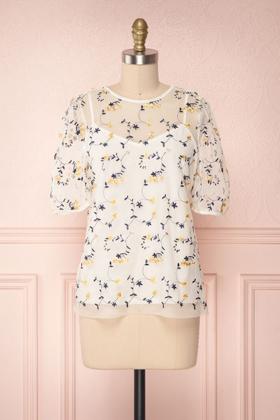 Iwaki Day Cream Embroidered Floral Mesh Top | Boutique 1861