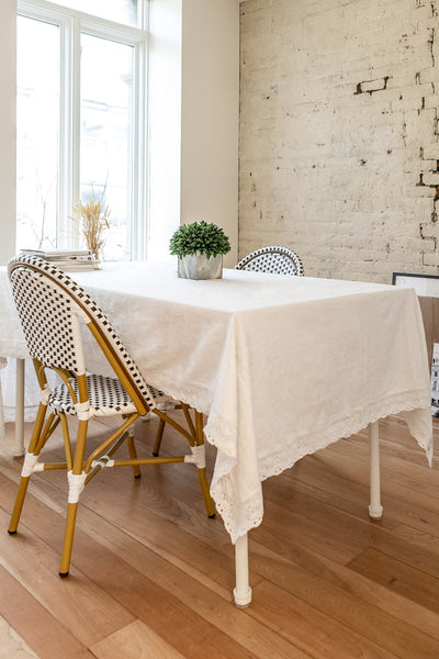Jacquard Tablecloth Ivory w Crochet Lace Trim | Boutique 1861 2