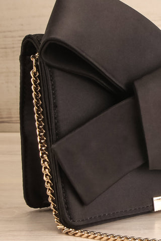 Janyce Black Satin Knotted Bow Clutch | Boutique 1861 side close-up