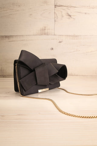 Janyce Black Satin Knotted Bow Clutch | Boutique 1861 side view