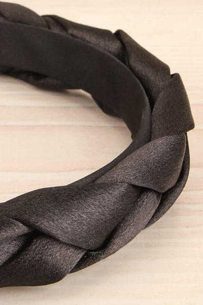 Jadea Black Satin Braided Headband | La petite garçonne flat close-up