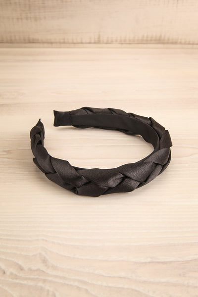Jadea Black Satin Braided Headband | La petite garçonne flat view