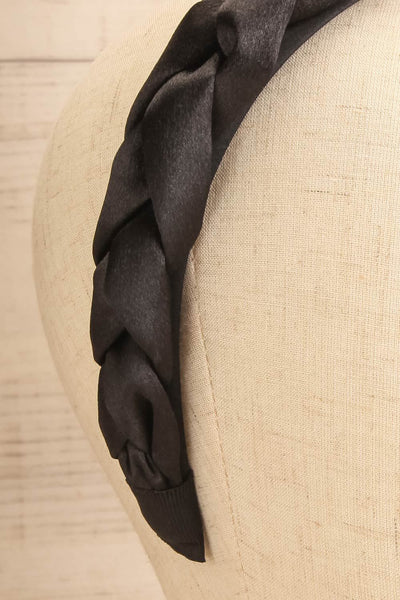 Jadea Black Satin Braided Headband | La petite garçonne close-up