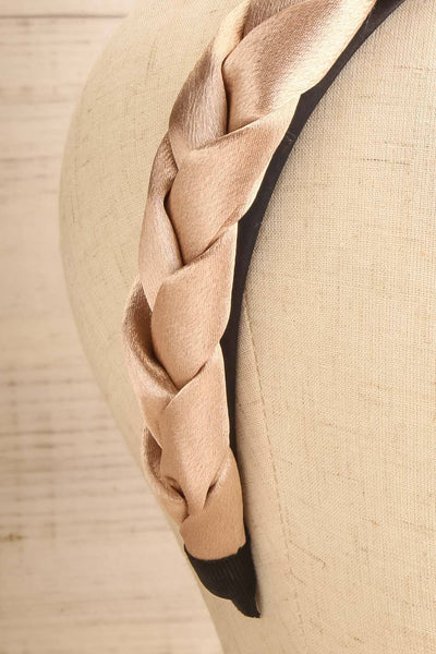 Jadea Gold Satin Braided Headband | La petite garçonneJadea Gold Satin Braided Headband | La petite garçonne close-up