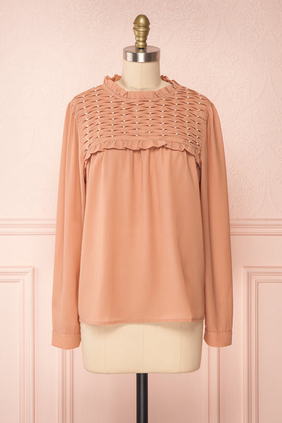 Jailene Blush Pink Chiffon Blouse with Pearls front view | Boutique 1861