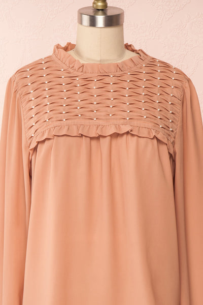 Jailene Blush Pink Chiffon Blouse with Pearls front close up | Boutique 1861