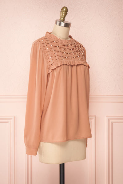 Jailene Blush Pink Chiffon Blouse with Pearls side view | Boutique 1861
