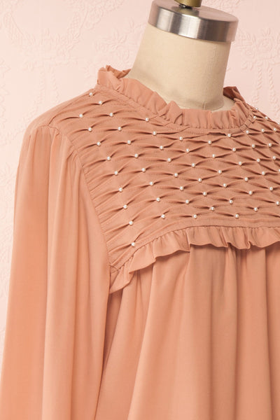 Jailene Blush Pink Chiffon Blouse with Pearls side close up | Boutique 1861
