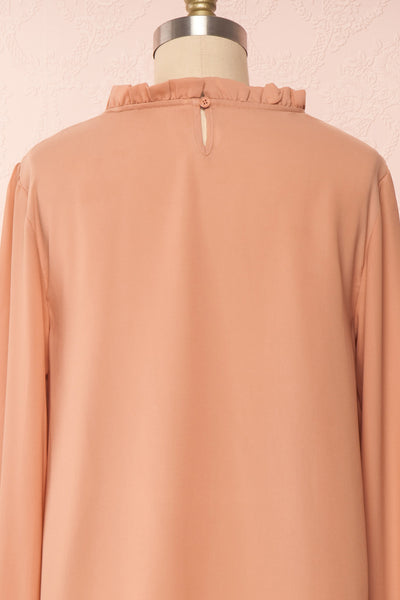 Jailene Blush Pink Chiffon Blouse with Pearls back view | Boutique 1861