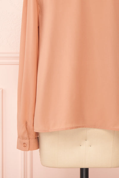 Jailene Blush Pink Chiffon Blouse with Pearls sleeve close up | Boutique 1861