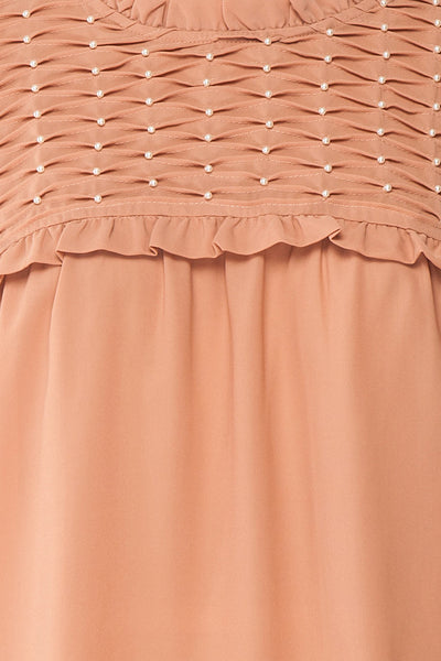 Jailene Blush Pink Chiffon Blouse with Pearls fabric detail | Boutique 1861