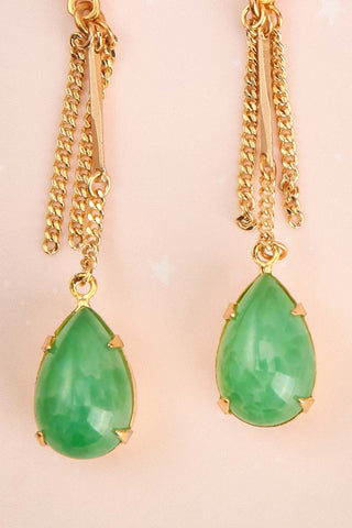 Jane Greer Green & Golden Pendant Earrings | La Petite Garçonne 2