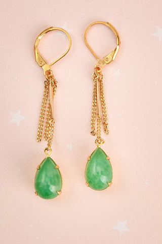 Jane Greer Green & Golden Pendant Earrings | La Petite Garçonne 1