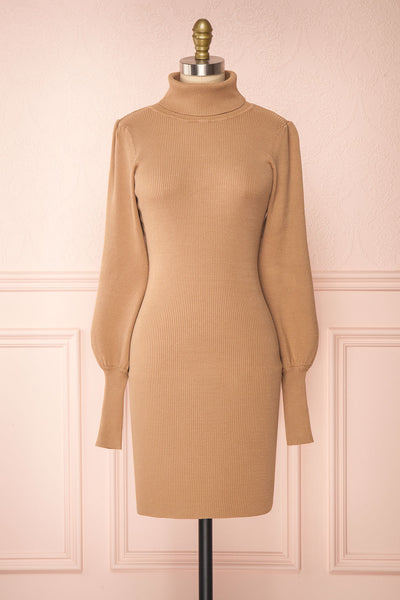 Janick Beige Ribbed Turtleneck Fitted Dress | Boutique 1861 front view