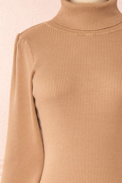 Janick Beige Ribbed Turtleneck Fitted Dress | Boutique 1861 front close-up