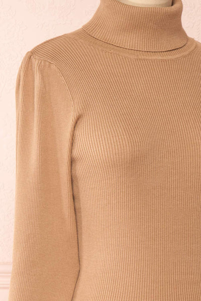 Janick Beige Ribbed Turtleneck Fitted Dress | Boutique 1861 side close-up