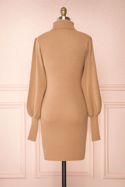Janick Beige Ribbed Turtleneck Fitted Dress | Boutique 1861 back view
