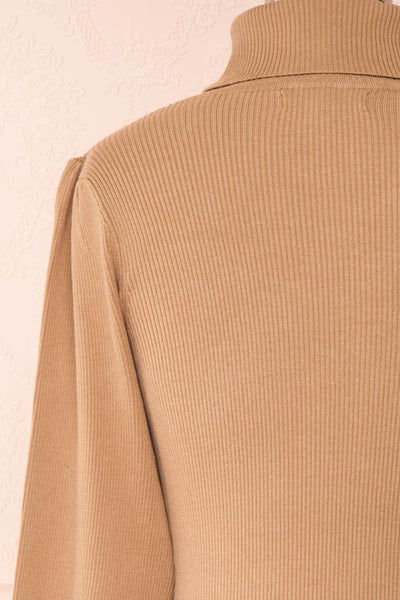 Janick Beige Ribbed Turtleneck Fitted Dress | Boutique 1861 back close-up