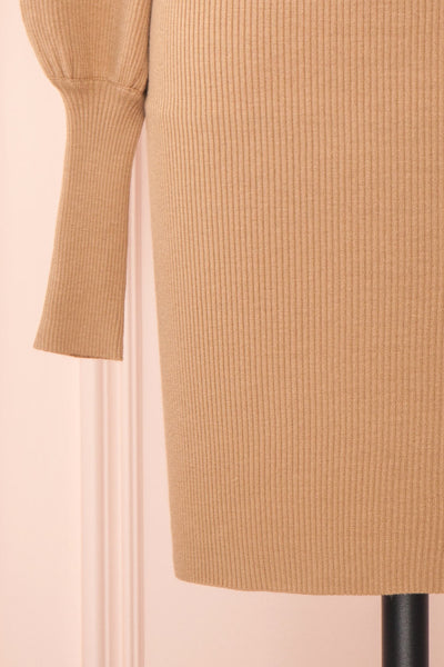 Janick Beige Ribbed Turtleneck Fitted Dress | Boutique 1861 bottom