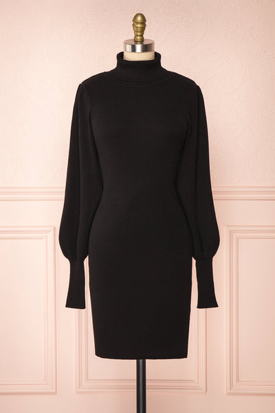 Janick Black Ribbed Turtleneck Fitted Dress | Boutique 1861 front view