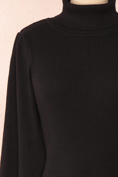 Janick Black Ribbed Turtleneck Fitted Dress | Boutique 1861 front close-up