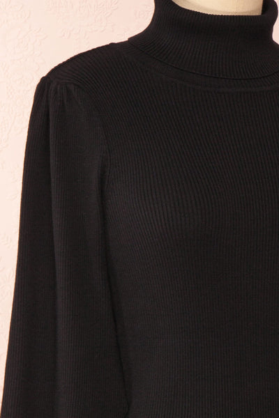 Janick Black Ribbed Turtleneck Fitted Dress | Boutique 1861 side close-up