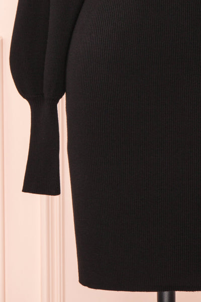 Janick Black Ribbed Turtleneck Fitted Dress | Boutique 1861 bottom