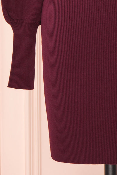 Janick Burgundy Ribbed Turtleneck Fitted Dress | Boutique 1861 bottom