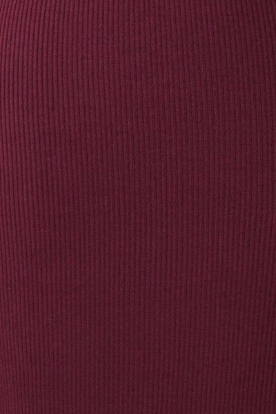 Janick Burgundy Ribbed Turtleneck Fitted Dress | Boutique 1861 fabric