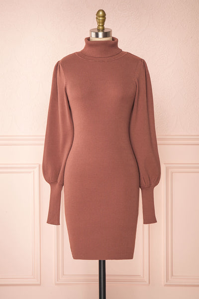 Janick Pink Ribbed Turtleneck Fitted Dress | Boutique 1861 front view