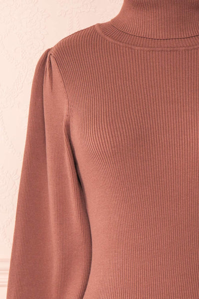 Janick Pink Ribbed Turtleneck Fitted Dress | Boutique 1861 front close-up