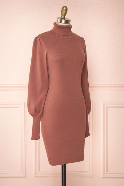 Janick Pink Ribbed Turtleneck Fitted Dress | Boutique 1861 side view