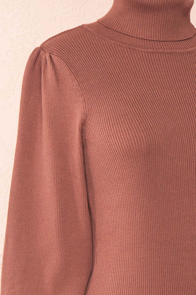 Janick Pink Ribbed Turtleneck Fitted Dress | Boutique 1861 side close-up