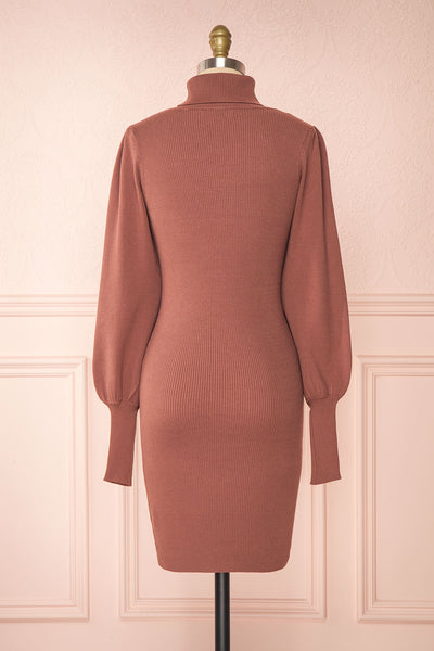Janick Pink Ribbed Turtleneck Fitted Dress | Boutique 1861 back view